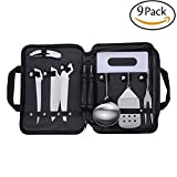 9 Pcs Camping Kitchen Utensil Organizer Travel Set Portable BBQ Camping Cookware