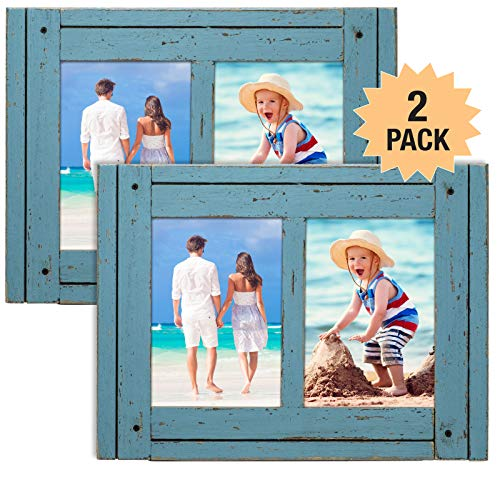 Excello Global Products Rustic Shabby Chic Turquoise Blue Weathered Distressed Vintage Style Wooden Picture Frame with Self-Stand Easel, Each Frame Holds Two 5