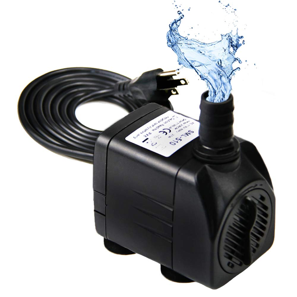 Hzeal Water Pump 300GPH (1200L/H, 21W) Submersible Pump, 48 Hours Dry Burning Fountain Submersible Water Pump for Aquarium Fish Tank Pond Statuary Hydroponics with 5.9ft Power Cord, 3 Nozzle