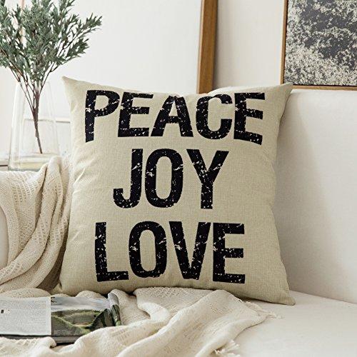 Miulee Peace Joy Love Cotton Linen Decorative Throw Pillow Case Cushion Cover Pillowcase for Sofa Bed Car 18 x 18 Inch 45 x 45 Cm