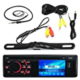 Cameras Digitales Best Deals - Pyle PLD34MUB 3'' LCD CD USB AM/FM Radio Bluetooth In-Dash Digital Receiver Bundle Combo With License Plate Mount Rear View Colored Backup Parking Camera, Enrock 22