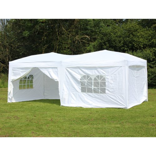 Palm Springs Outdoor Ez To Set Up Pop-Up Canopy with 6 Side Walls (White, 10-Feet x 20-Feet)