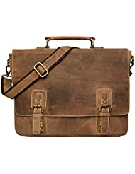 Leather 16 Inch Retro Leather Briefcase Laptop Messenger Bag, Dark Brown, Large, Vintage Genuine Leather Briefcase...