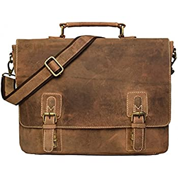 Amazon.com: TOM&CLOVERS BAGS Twin Buckle Men's Messenger Bag, Dark ...