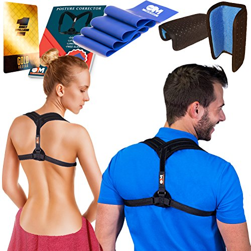 Only1MILLION Posture Corrector for Women & Men + Resistance Band for Fix Upper Back Pain – Adjustable Posture Brace for Improve Bad Posture | Thoracic Kyphosis Brace (Black) by Only1MILLION