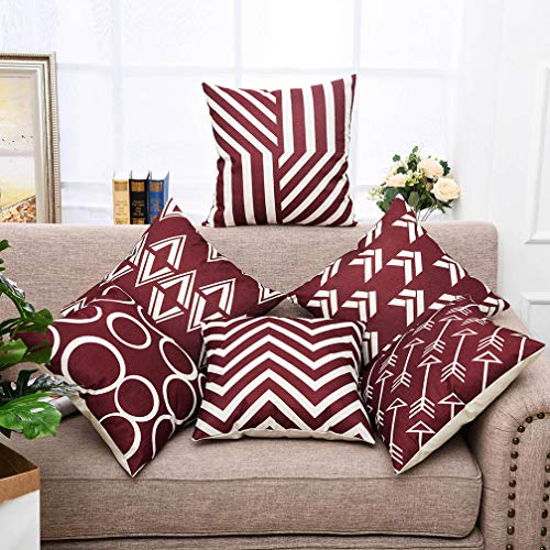 Pillow Decorative Modern (Yinnazi Modern Geometric Pattern Throw Pillow Covers Square Cushion Case for Couch Decorative Pillowcase for Home Decor Set of 6 Solid Color Burgundy)