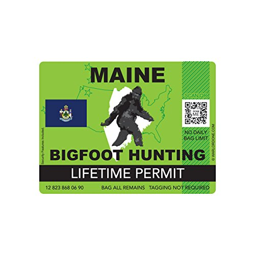 Maine Bigfoot Hunting Permit Sticker Die Cut Decal Sasquatch Lifetime FA Vinyl