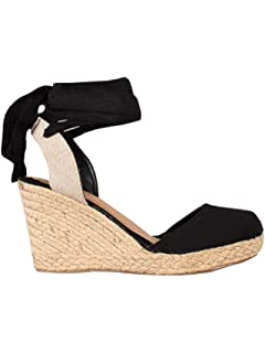 0267a9341849 Nailyhome Womens Wedge Espadrille Platform Closed Toe Slingback Lace up Mid  Heel Sandals
