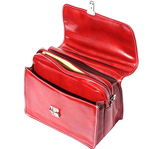 Cartera de cuero con compartimento para portátil. 3 compartimientos 7615 Rojo