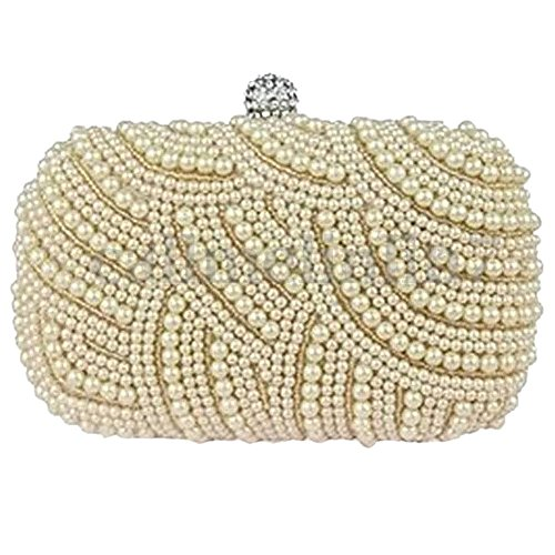color R Bridal TOOGOO cream Party Handbag Clutch Wedding Prom Beaded Bag Evening Purse Ladies AXOqwOa