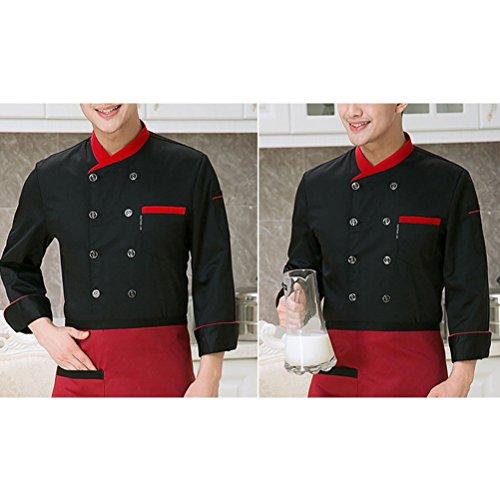 Unisex Zhhlinyuan 3 Jacket Colors Chefs Top Uniform Sleeve Button Long Black Comfortable WvWrf6T