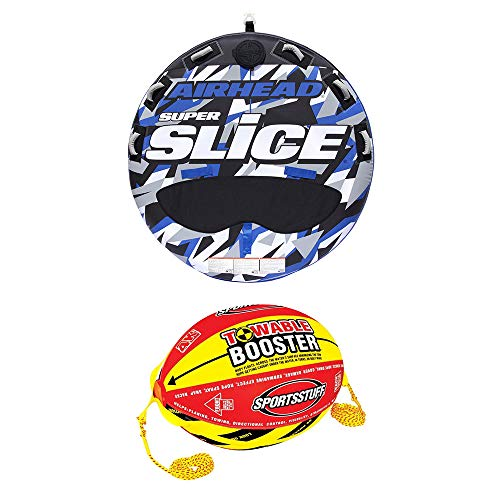 Airhead Super Slice Inflatable Triple Rider Towable Tube w/Buoy Booster ()