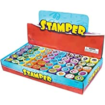 NY TOYZ® High Quality 50 Assorted Stamps for Kids- #1 Self Ink Washable Plastic Stamp Set w Rubber Tip (set of 50)