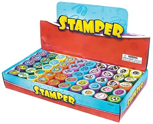 ty 50 Assorted Stamps for Kids- #1 Self Ink Washable Plastic Stamp Set w Rubber Tip (set of 50) (Party Hat Smiley)