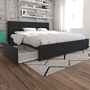 Novogratz Kelly Bed with Storage, King, Dark Gray Linen