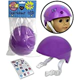 Dress Along Dolly Doll Bike Helmet - Purple Bike Helmet with Easy Strap and Decorate Yourself Decals - Fits American Girl