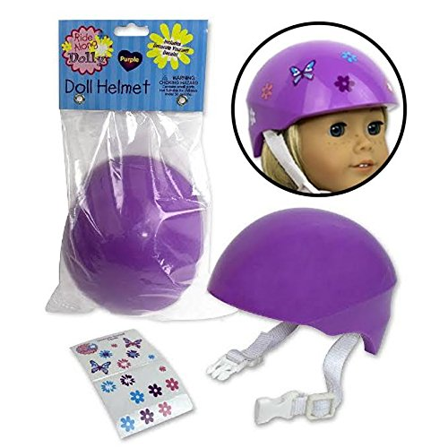 """Dress Along Dolly Doll Bike Helmet For American Girl and 18"""" Dolls - Purple Bike Helmet with Easy Strap and Decorate Yourself Decals"""