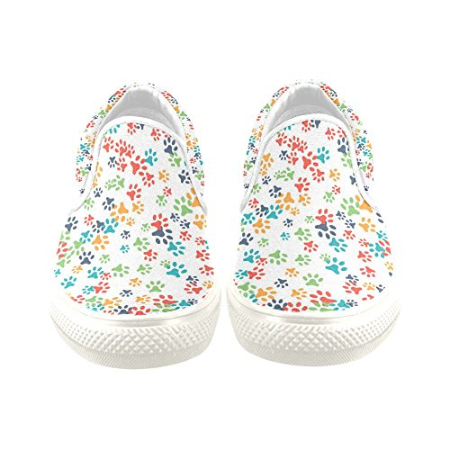 D-Story Custom Sneaker Colorful Dog Paw Women Unusual Slip-on Canvas Shoes UuOvHr