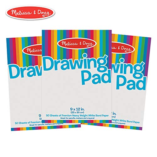 Melissa & Doug Drawing Paper Pad, 3-Pack of Large Drawing Pads, Pages Tear Cleanly, 50 Pages per Pack ()