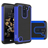 LG K8 Case, LG Escape 3 Case, LG Phoenix 2 Case, OEAGO [Shockproof] [Impact Protection] Hybrid Dual Layer Defender Protective Case Cover for LG K8 / LG Escape 3 / LG Phoenix 2 - Blue