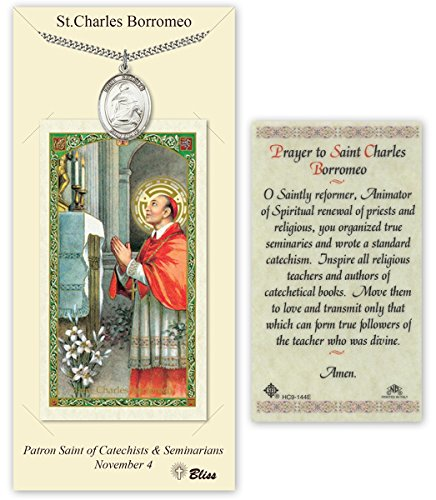 Saint Charles Borromeo Medals - Pewter Saint Charles Borromeo Medal with Laminated Holy Prayer Card