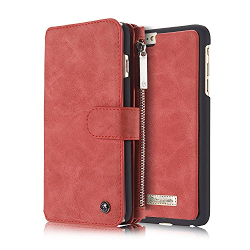 Detachable iPhone 6 Plus iPhone 6s Plus Wallet Case Multi function Zipper Premium PU Leather Folio Wallet Flip Case Cover with 14 Card Slot, Built-In Card Slots Magnetic Purse Rose Scarlet Red