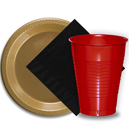 (50 Gold Plastic Plates (9