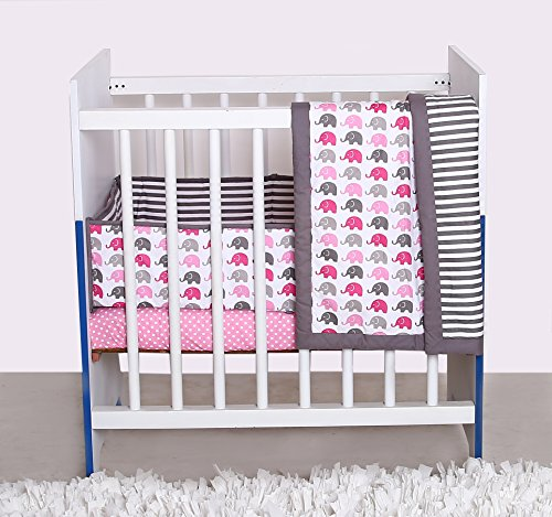 Bacati Elephants 3-Piece Portable Crib Bedding Set, Pink/Grey