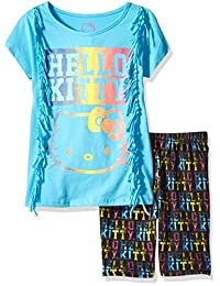 Hello Kitty girls Bike Short Set With Side Fringes & Sugar Glitter Artwork