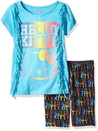 Hello Kitty - Conjunto de Pantalones Cortos de Ciclismo para niña con Flecos Laterales y Ilustraciones con Purpurina de...