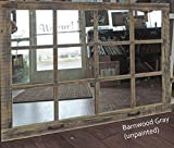 "Window Pane Mirror --46"" X 36"" Painted Barnwood Homesteader Style"