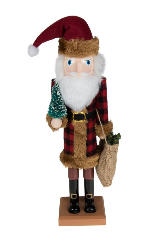 """Clever Creations Traditional Wooden Old World Santa Claus Christmas Nutcracker Collectible in Flannel Fur Trimmed Coat 