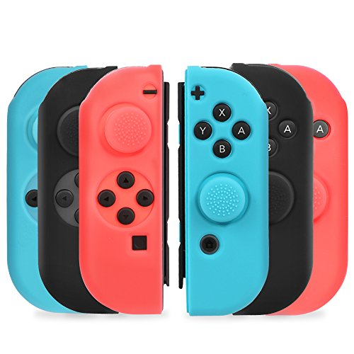 Nintendo Switch Joy-Con Gel Guards Skin with Thumb Grips Caps, TJS Silicon [Anti-Slip] [Humanization Design] [Match Official Color] Protective Case for Left Right Joy-Con Controllers - Black/Blue/Red (Red Gel Skin Case)