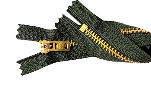 Two 7 Inch Brass Jeans Zipper YKK Number 5 Gold Colored Metal Teeth Zips with Locking Slider Closed Bottom Color Pine Forest Green #S908