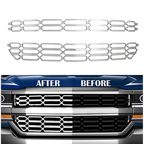 GaofeiLTF Chrome Grille Overlay Kit Fits 2016 2017 2018 Chevrolet Silverado 1500 Snap On Grill Cover Insert, 2pcs