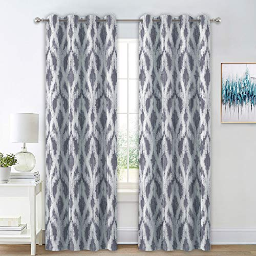 (RYB HOME Light Block Out Curtains Sliding Glass Door Shades, White Sound Wave Texture Pattern Darkening Curtains for Office/Work Room, Dove Grey (W 52