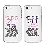 "iPhone5 5SE 5S Cases-TTOTT Ultra-Slim Floral Best Friends 2 Pieces Phone Cases BFF Phone Covers for iPhone 5 iPhone5SE iPhone5S Fashion Cute Friends Gift Case iphone Hard Cover Case BFF CASE 4"" INCH"