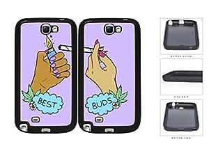 Best Buds Marijuana Best Friend Set Rubber Silicone TPU Cell Phone Case Samsung Galaxy Note 2 II N7100