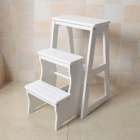 QinnLinn Escalera De Tijera Plegable Taburete De Madera De 3 Escalones para Adultos Cocina para Niños Escaleras De Madera Taburetes Pequeños para Pies Banco De Zapatos Portátil De Interior,1: Amazon.es: Hogar