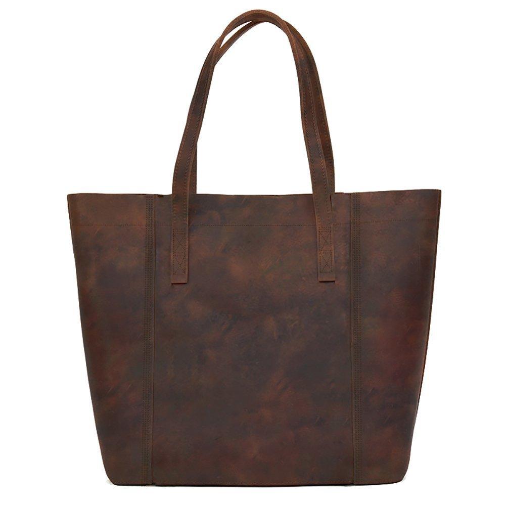 Super Sturdy and Durable Fits 15.6''Laptop Genuine Leather Handbag Tote Bag Shopper Purse Shoulder Bag School Bag for Lady's Gift