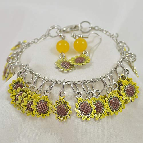 (Hand-Painted Sunflower Charm Earrings and Bracelet Set)