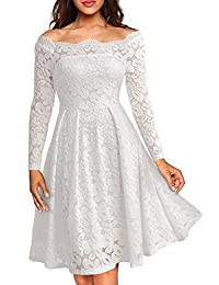 Long Sleeve Floral Lace Boat Neck Cocktail Swing Dress