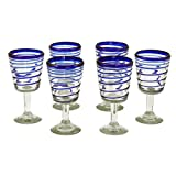 NOVICA Artisan Crafted Clear Blue Hand Blown Recycled Glass Wine Goblets, 10 oz. 'Cobalt Spirals' (set of 6)