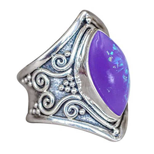 Muranba Boho Jewelry Silver Natural Gemstone Marquise Moonstone Personalized Ring (Purple, (Ten Stone Ring)
