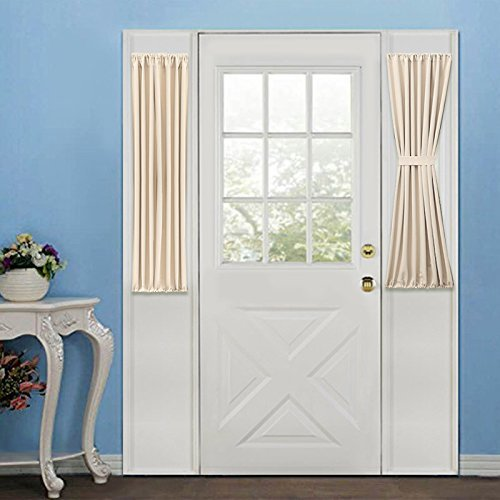 Rose Home Fashion Elegance Blackout Sidelight Panel Curtains 25W by 40L Inches-Side Lights Front Door Curtain/Panel-Beige(25x40)