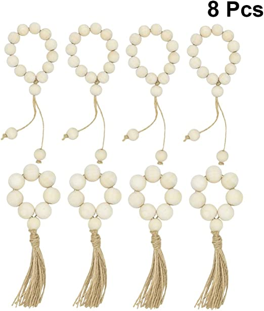 fairy maker 8Pcs Wood Bead Napkin Rings with Tassels,Rustic Farmhouse Beads Wedding Decor