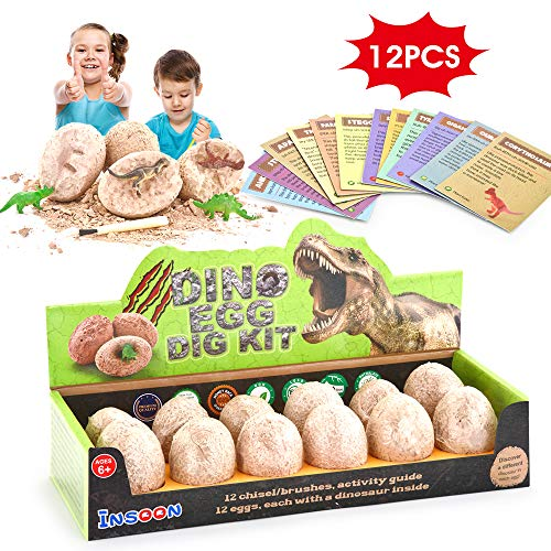 Insoon Dinosaur Eggs Dig Kit Discover 12 Baby Dinos for Archaeology and Paleontology Development STEM Toys for Boys Girls Kids Group Activity Party