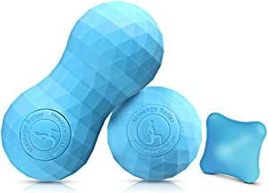 KOOLSEN 2020 Peanut Massage Lacrosse Ball Set for Myofascial Release, Deep Tissue, Muscle Knots, Yoga and Trigger Point Therapy, 100% Solid Silica Gel Construction - 3 Firm Diamond Balls
