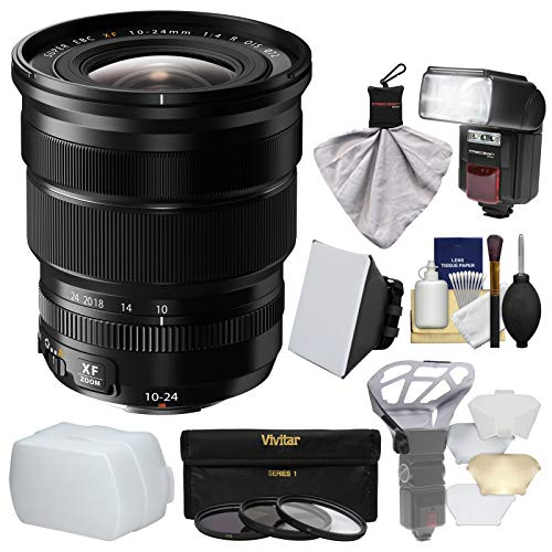 Fujifilm 10-24mm f/4.0 XF R OIS Zoom Lens with Flash + Soft Box + 2 Diffusers + 3 Filters Kit for X-A2, X-E2, X-E2s, X-M1, X-T1, X-T10, X-Pro2 Cameras