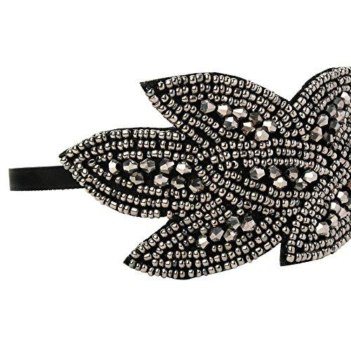 BABEYOND Art Deco Headpiece Flapper Headband 1920s Headpiece Black Rhinestone Headband for Women (Black)